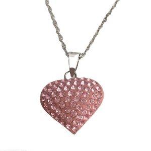 Swarovski Crystal Pink Puffy Heart Necklace 925